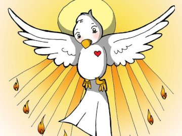 Holy dove - Image that contains the holy spirit along with the tongues of fire. A drawing of a face.