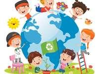 We zorgen voor onze planeet - We geven om het milieu. Puzzel - We geven om onze planeet. Puzzel - We geven om het milieu.