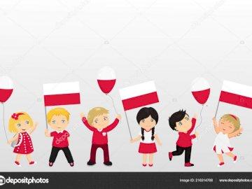 Siamo polacchi - Puzzle per bambini legati al patriottismo. Nella foto bambini con bandiere polacche.