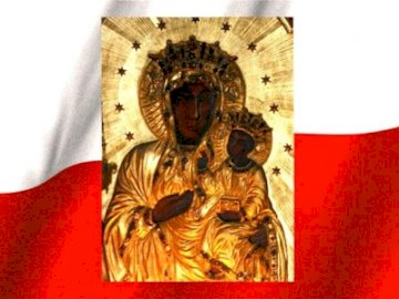 MARYJA KROLOWA POLSKI - OBRAZ MATKI BOSKIEJ CZĘSTOCHOWSKIEJ W KORONIE NA TLE FLAGI POLSKI.