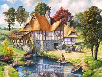 Mill on the pond. - Landscape puzzle: a mill on the pond. A group of people in a garden.