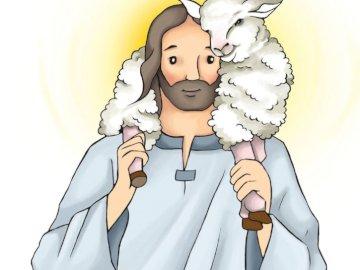 Добър пастир - Съставете пъзели - Господ Исус, добрият пастир. Затваря
