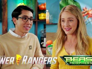 Power Ranger - Power Ranger Beast Morphers nate und zoey. Eine Person, die ein Schild hält.