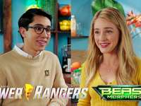 power rangers - power rangers beast morphers nate and zoey. A person holding a sign.