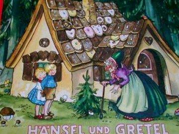 """""""Hansel und Gretel"""" - Puzzle - puzze nawiązujące do bajki """"hansel und gretel"""" pl. """"Jaś i Małgosia""""."""