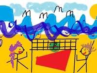 pláž v Polsku - pláž je krásná počasí je krásné, děti jsou šťastné a moře šumí.