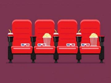 cinema.places - Genial juego para jugar con jóvenes estudiantes. Un mobiliario rojo y blanco.