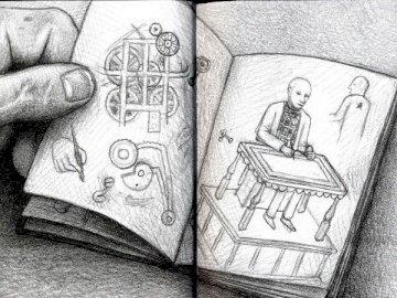hugo cabret - hugo cabret work literature. A close up of text on a black background.