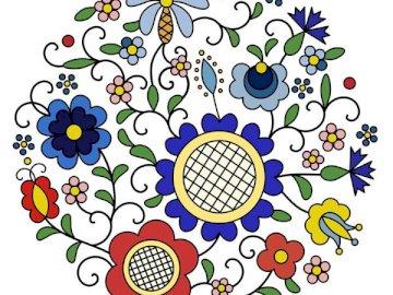 Broderie cachoube - Les motifs qui prévalent dans la broderie sont des motifs floraux, principalement des fleurs, y com