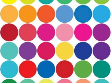 dots - the dots are colorful. A close up of a logo.