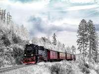 влак на снежна планина