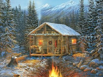 Campfire in the mountains. - Landscape puzzle: campfire in the mountains. A house covered in snow.