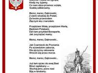 "Mazurek Dąbrowskiego""-polski hymn narodowy - Puzzel met de tekst van het Poolse volkslied. A close up van tekst op een witte achtergrond."