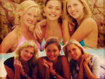 Emma, Cleo and Rikki, - Emma, Cleo and Rikki accidentally hit the island of Mako,. Phoebe Tonkin, Claire Holt posing for a p