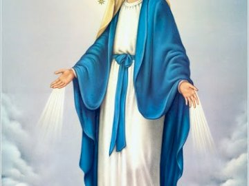 religious - Mary of Perpetual Help. A person in a blue dress.