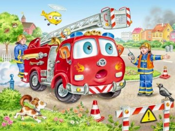 Fire brigade - picture of the fire station for 5-year-old children. A close up of a toy car.