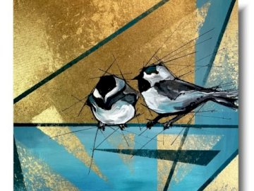 two sparrows - two turquoise sparrows, picture.