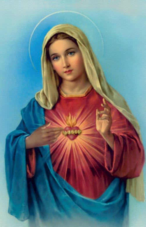 Άψογη καρδιά της Παναγίας - Συνθέστε μια εικόνα της Μαρίας. Μια γυναίκα με μπλε φόρεμα (4×4)