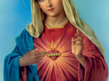Niepokalane Serce NMP - Ułóż obraz przedstawiający Maryję. Kobieta w niebieskiej sukience.