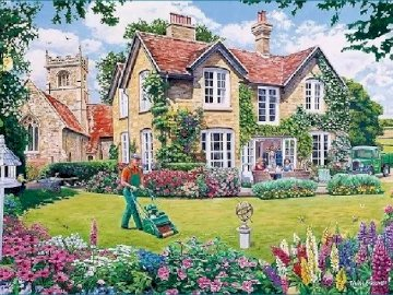 W angielskim ogrodzie. - W angielskim ogrodzie................................................... Duży trawnik przed domem.