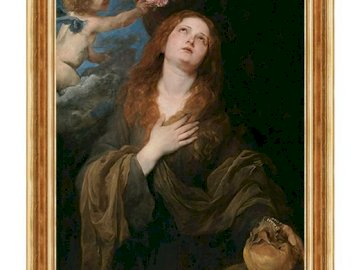 St. Rozalia - Saint Patron from epidemics. A painting of a woman in front of a mirror posing for the camera.