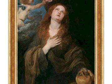 św. Rozalia - Święta Patronka od epidemii. Obraz kobiety przed lustrem pozuje do kamery.