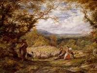 Călătoria oilor, 1863. - Bărbat și femeie care stau pe pictura câmpului de iarbă. Birmingham, Marea Britanie.