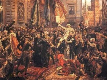 Konstytucja 3 maja - Obraz Jan Matejko. Konstytucja 3 maja. Grupa ludzi stojąca obok obrazu.