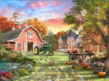 gospodarstwo,budynki,drzewa - gospodarstwo,budynki,drzewa...................................... Dom z drzewami w tle.
