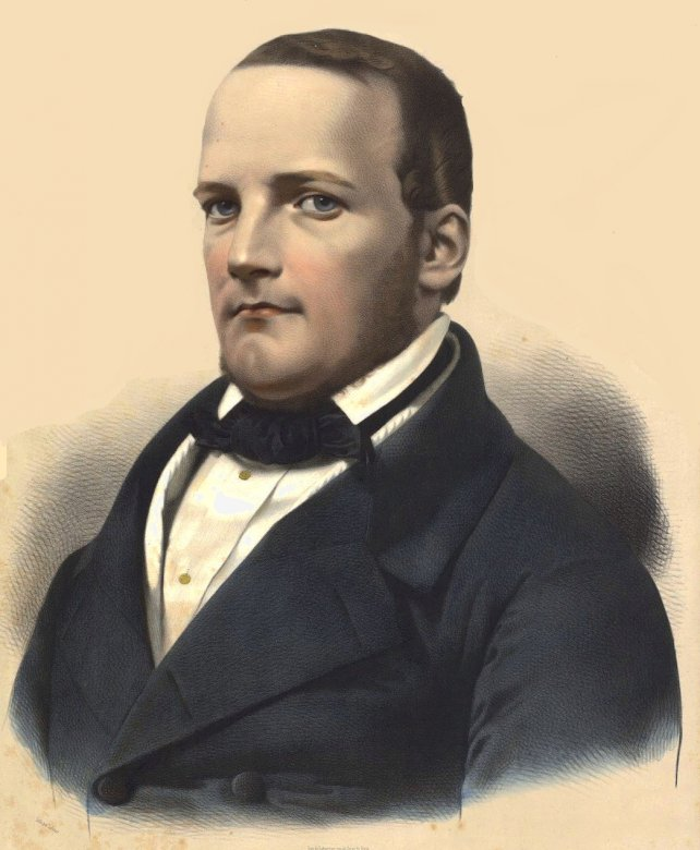 Stanisław Moniuszko - Stanisław Moniuszko. Disporre il ritratto di Stanisław Moniuszko. Un uomo che indossa giacca e cravatta (4×4)