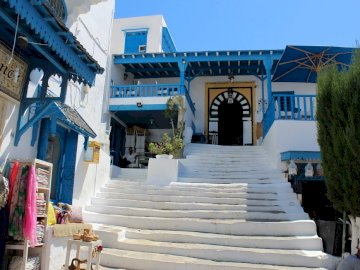Tunisia ----------- - two colors white and blue ---------------------. A large white building.