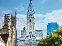 Philadelphiai városháza - Philadelphia Városháza, Egyesült Államok. A közelről egy forgalmas városi utcán.