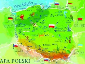 Mapa de polonia - Mapa de Polonia para niños de 6 años. Un primer plano de un mapa.