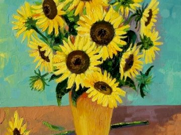 Sunflowers - PAZL WITH PAINTING PAINTING SUNS. A painting of a yellow flower.