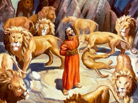 Daniel dans la fosse aux lions - Image représentant Daniel dans la fosse aux lions (5×5)