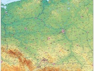 Mapa geograficzna Polski - Spróbuj ułożyć mapę geograficzną Polski. Zbliżenie mapy.