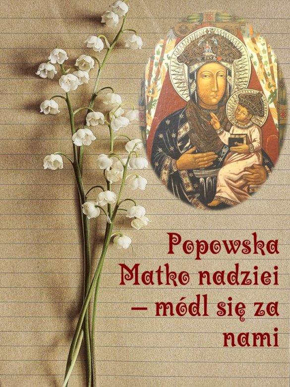 Майката на надеждата на Поповска - Картина на Божията Майка, Майката на надеждата от светилището в Попово Костелни. Затваряне на книга (4×5)