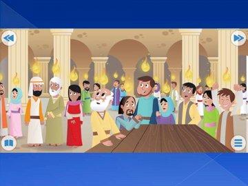 Nedstigningen av den heliga anden. - Den Helige Ande stiger ned på apostlarna i form av bränder. En grupp människor som poserar för k
