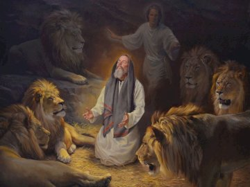 Daniel in the lion's den - Daniel in the lion's den. A man standing in front of a lion.