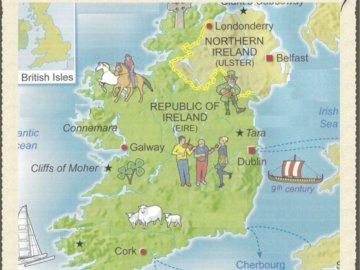 Pani magaud - Jest to rysunek przedstawiający mapę wyspy Irlandii. Zbliżenie mapy.