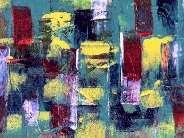 Malarstwo abstrakcyjne - Malarstwo abstrakcyjne czerwony żółty i czarny. Valparaiso Indiana USA. Graffiti w deszczowy dzie