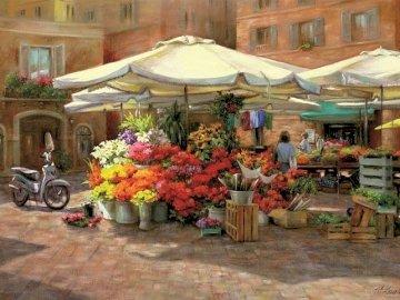 florista - Floreria, calle, pintura.