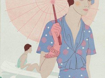 Mujer con paraguas, niña parisina - Mujeres en el arte, Paris.