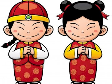 CHINITOS DRAWING - CHINA PROJECT: 9 PIECE PUZZLE. A drawing of a cartoon character.