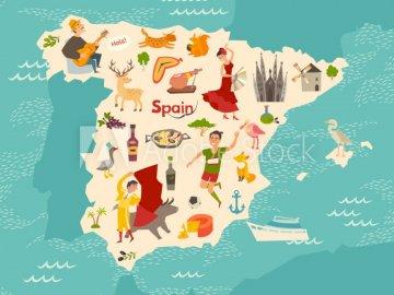 Hiszpania mapa - Mapa Hiszpanii dla dzieci. Zbliżenie mapy.