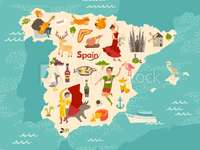 Spanien Karte - Karte von Spanien für Kinder. Eine Nahaufnahme einer Karte.
