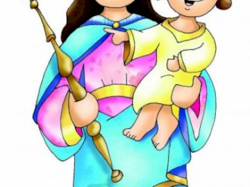 Maria Ausiliatrice (facile) - Maria, aiuto dei cristiani, prega per noi!. Un disegno di un personaggio dei cartoni animati. Maria