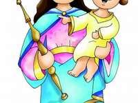 Maria Auxiliadora (fácil) - Maria, ajuda dos cristãos, rogai por nós!. Um desenho de um personagem de desenho animado. Maria A