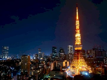 Tokyo Tower at night - Eiffel Tower, Paris during nighttime. Taiwan. A view of a city at night.