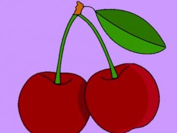 wiśnie - para czerwonych i dojrzałych wiśni.